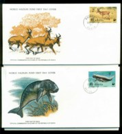 Kenya 1977 WWF,Hartbeeste, Dugong, Eland,Franlkin Mint (with Inserts) 2xFDC Lot79615 - Kenya (1963-...)