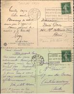 """Flier """"Paris 1925 Expositions Des Arts Décoratifs...."""", Sur 2 Cp De Toulon Et Paris Départ. - Marcophilie (Lettres)"""