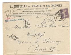 7534 - Perforé Et Recommandée - Marcophilie (Lettres)