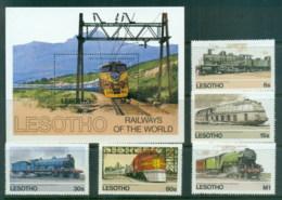 Lesotho 1984 Trains, Locomotives + MS MUH - Lesotho (1966-...)