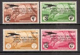 "(Fb).Colonie.Tripolitania.Posta Aerea.1934.""Volo Roma-Buenos Aires"".Serie Di 4 Val Nuovi,g. Integra,MNH (37-16) - Tripolitania"