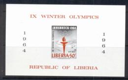 Liberia 1964 Winter Olympics Innsbruck MS IMPERF MUH - Liberia