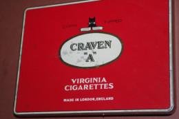 BOITE TABAC CIGARETTES  CRAVEN A CORK Métal Etablissements LONDON VIRGINIA - Empty Tobacco Boxes