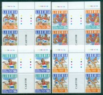 Liberia 1996 Modern Olympic Games Centenary Gutter Blk4 MUH - Liberia