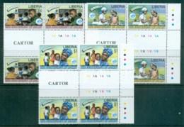 Liberia 1996 UNICEF 50th Anniv Gutter Blk 4 MUH - Liberia