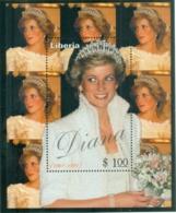 Liberia 1998 Princess Diana In Memoriam, Dazzling Diana MS MUH - Liberia