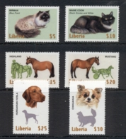 Liberia 1999 Dogs, Cats, Horses MUH - Liberia