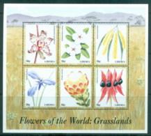 Liberia 1999 Flowers Of The World, Grasslands MS MUH - Liberia