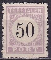 SURINAME 1886-1888  Portzegel 50 Cent Zwart /  Lila Type II NVPH P 8 II (*) - Suriname ... - 1975