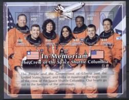 Liberia 2003 Space Shuttle Columbia Crew, In Memoriam MS MUH - Liberia
