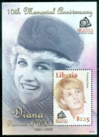 Liberia 2007 Princess Diana In Memoriam, 10th Anniv., Pensive & Playful MS MUH - Liberia