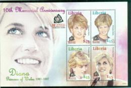 Liberia 2007 Princess Diana In Memoriam, 10th Anniv., Princess Of Wales MS MUH - Liberia