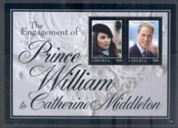 Liberia 2011 Royal Engagement William & Kate #1105 $100 MS MUH - Liberia