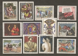France 1963/71 - Tableaux - Petit Lot De 20 MNH - 2 Séries Complètes 1376/77 (Delacroix) -1586/88A (Seurat/Pasture) - Timbres