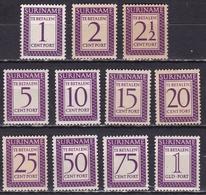 SURINAME 1956 Portzegel Cijfer En Waarde In Rechthoek Lila Complete Ongestempelde Serie NVPH P 47 / 57 MH - Suriname ... - 1975