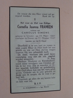 DP Cornelia FRANKEN ( Carolus SIMONS ) Schoten 19 Maart 1887 - Ekeren 11 Oct 1947 ( Zie Foto's ) ! - Overlijden