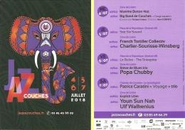 Carte-programme - Jazz à Couches - 4-7 Juillet 2018 - [Haute-Saône] - Ill. : éléphant - Saxophone - Programmi