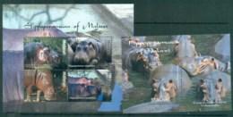Malawi 2009 Wildlife Hippos Of Malawi 2x MS MUH - Malawi (1964-...)