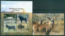 Malawi 2009 Wildlife Pt.II, Zebra, Rhino 2x MS MUH - Malawi (1964-...)