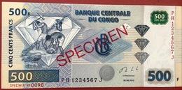 CONGO 500 FRANK SPECIMEN UNC CONDITION BANKNOTE. - Congo