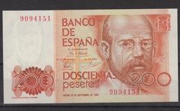 1980 Billete Español Pesetas 200 SC - Numeración Sin Serie - [ 4] 1975-… : Juan Carlos I