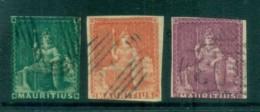 Mauritius 1858-59 Seated Britannia, Close Cut, But Clean & No Thins 3x FU Lot78044 - Mauritius (1968-...)