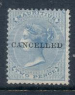 Mauritius 1863  QV 2d Blue CANCELLED (small Thin) MH - Mauritius (1968-...)