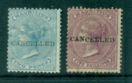 Mauritius 1863-72 QV 2d & 5/- Cancelled MHH Lot78049 - Mauritius (1968-...)