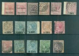 Mauritius 1876-78 Surcharges Asst, Faults 16x FU Lot78050 - Mauritius (1968-...)