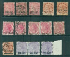 Mauritius 1883-91 QV Surcharges Asst, Faults 14x FU/MH Lot78053 - Mauritius (1968-...)