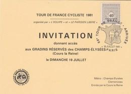 Tour De France 1981 - Invitation Gradins Réservés Champs Elysées PARIS  Arrivée - Ciclismo