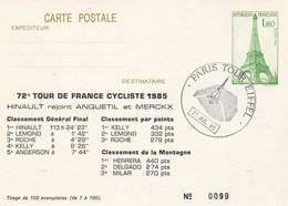 Entier Postal Tour Eiffel Repiquage Tour De France 1985 Classements - Tirage Limité 99/100 - Ciclismo