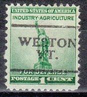 USA Precancel Vorausentwertung Preo, Locals Vermont, Weston 701 - Vereinigte Staaten