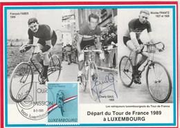 Tour De France 1989 Départ Luxembourg - Faber Frantz Et Signée Charly Gaul - Cycling