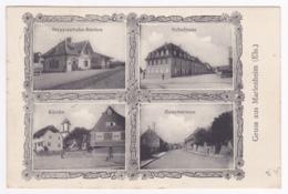 Gruss Aus Marlenheim - Multivues 4 Vues ( Strassenbahn-Station, Schulhaus, Kirche, Haupstrasse) Circulé 1909 - France