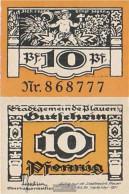 Plauen In Vogtland Notgeld: Notgeldschein The City Plauen Uncirculated 1921 10 Pfenning Plauen - Germany
