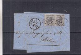 Belgique - Lettre De 1869 - Oblit Liège - Exp Vers Arlon - Cachet à Points 17 ? - 1865-1866 Linksprofil