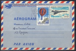 Aérogramme Avec Complément D'affranchissement, Arrivée Betz (Oise), 1971. - Postal Stamped Stationery