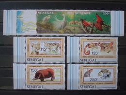 SENEGAL 1987 Nr 722/725 + 726/727 MNH** / CASAMANCE FAUNA BUZIN MAMMALS BIRDS / 1986 - Sénégal (1960-...)