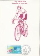 Tour De France 1989 Greg Lemond Vainqueur Cachet Champs Elysées Paris 23/7/1989 - Wielrennen