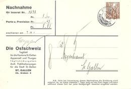"""NN Streifband  """"Die Ostschweiz, St.Gallen""""            1936 - Briefe U. Dokumente"""