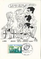 Tour De France Cachet Illustré Départ Grand Lyon 6/7/1991 Illustrateur Dero : Lemond, Fignon, Chiappucci Bugno... - Cyclisme