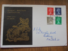 S010: FDC: Great Britain Definitive First Day Of Issue. 8d, 5d, 10d & 7d. Postmark 1 Jul 1968 Manchester. - FDC