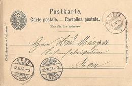 PK 18  Uttigen - Bern - Weissenbühl B.Bern          1888 - Interi Postali