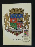 Carte Maximum Card Armoiries Blason Coat Of Arm Heraldry Oran Algérie 1960 - Cartoline Maximum