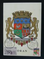 Carte Maximum Card Armoiries Blason Coat Of Arm Heraldry Oran Algérie 1960 - Cartes-maximum