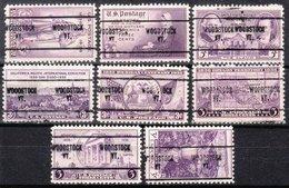 USA Precancel Vorausentwertung Preo, Locals Vermont, Woodstock 704, 8 Diff. Commemorative Stamps - Vereinigte Staaten