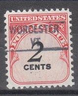USA Precancel Vorausentwertung Preo, Locals Vermont, Worcester 841 - Vereinigte Staaten