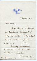 82. ROBERT TALBOT GASCOYNE-CECIL MARQUIS DE SALISBURY 1874. BRISTOL SIGNé COMMANDE DE VIN A CLOSMANN BORDEAUX - Autografi