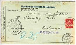 """159 SUR LETTRE - CACHET DE """"PUIDOUX"""" - CACHET COMMUNAL DE PUIDOUX SUR DOCUMENT - Svizzera"""